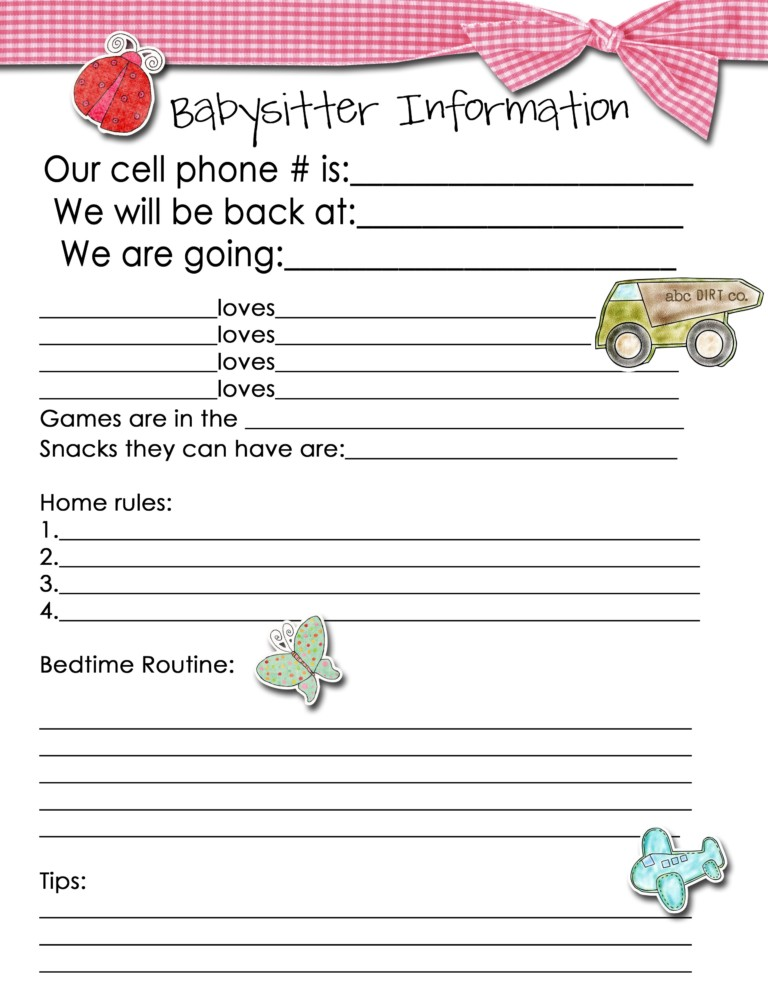 picture about Babysitter Information Sheet Printable known as Babysitter Information Sheet Idea Junkie