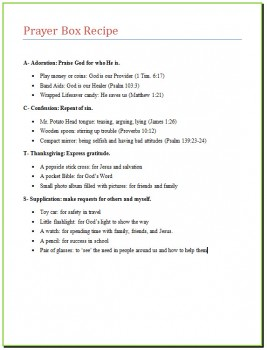 image about Acts Prayer Printable identified as The Prayer Box Recipe [printable Suggestion Junkie