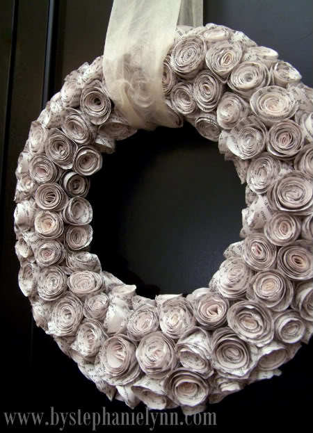 Rosewood Wreath from Recycled Book Pages {paper craft}