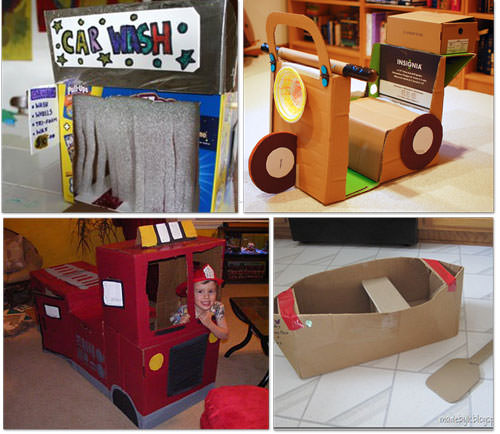 cardboard scooter and fire truck