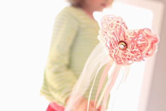 Kids craft idea: Heart string magic wands