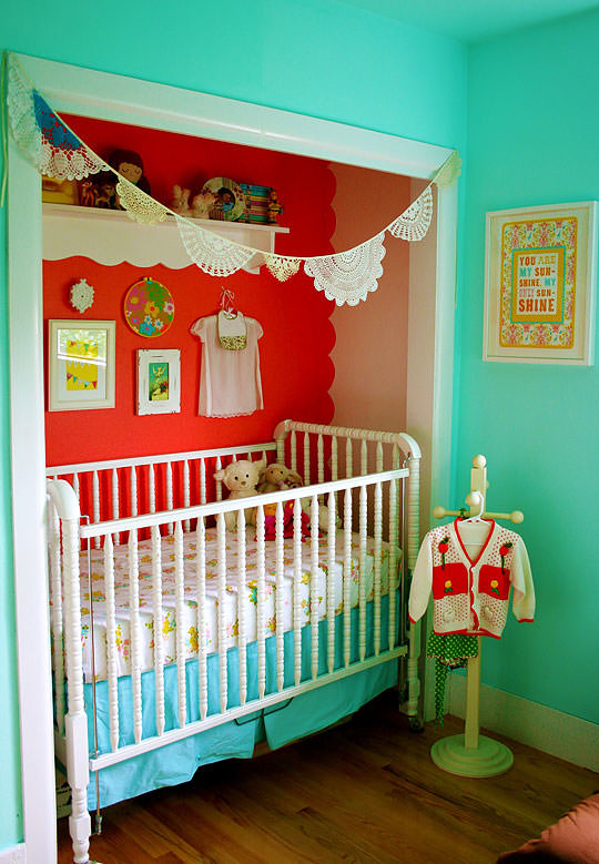 closet turned crib area for a baby girl