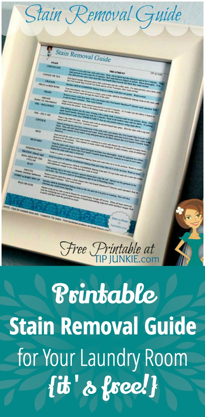 Printable Stain Removal Guide for Your Laundry Room {it's free!}