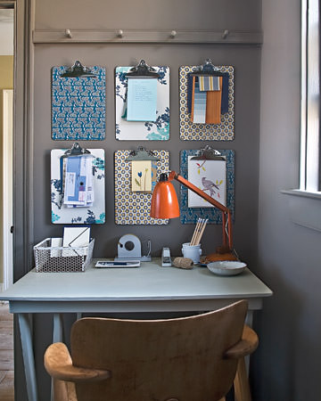 Home Office Wall Clipboard Organization