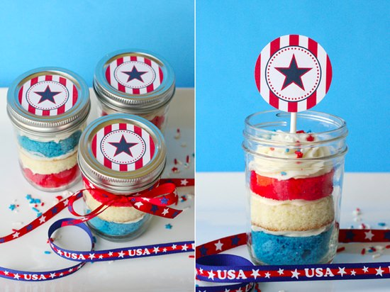 Patriotic Cupcakes in a Jar