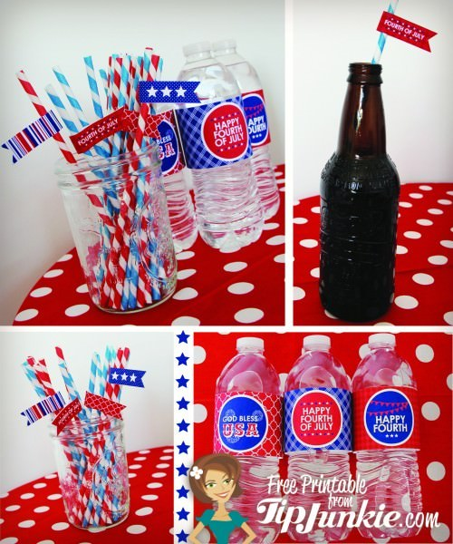 July 4th straw flags and bottle wrappers