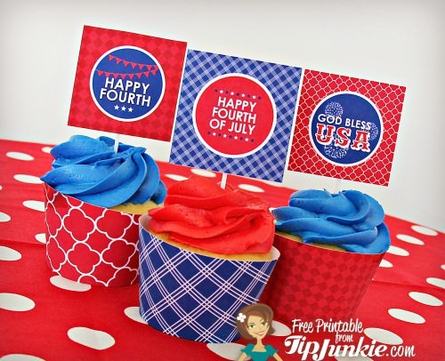 4th of July Cupcake Toppers and Wrappers