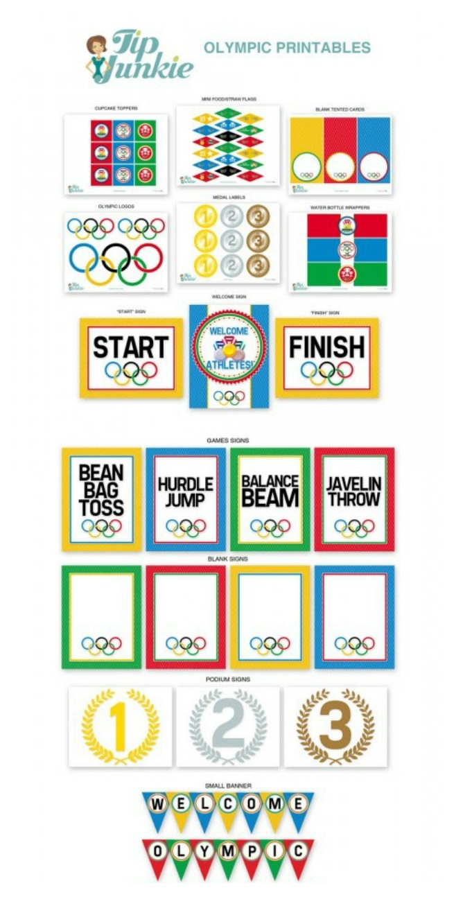 picture regarding Printable Olympic Schedule identify 13 Olympic Video games Printable Celebration Decor versus Suggestion Junkie