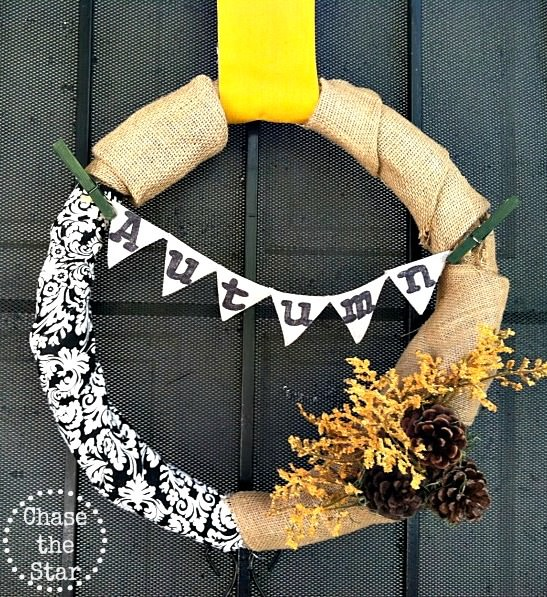 DIY Fabric Scrap Fall Wreath
