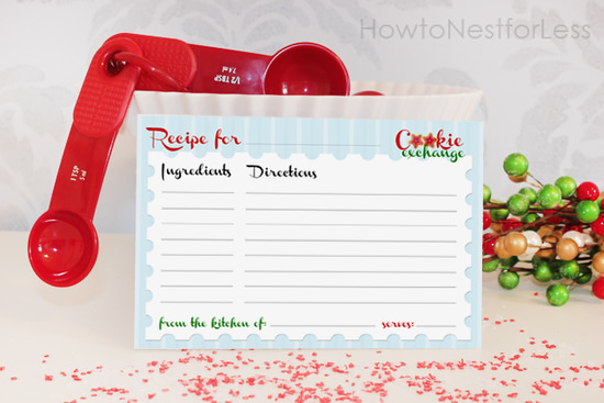 cookie exchange recipe card free printable