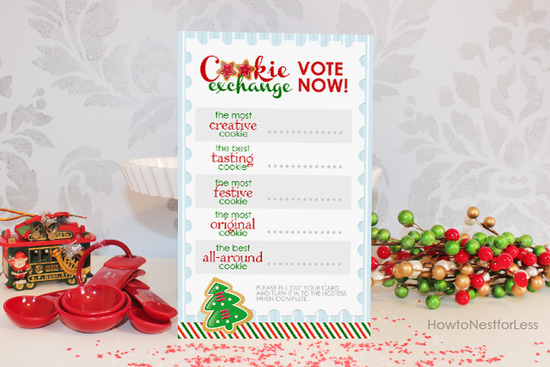 cookie exchange voting card