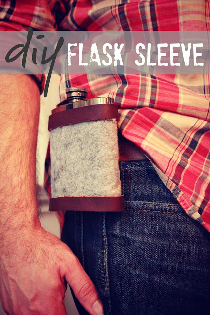 No-Sew Leather & Wool Flask Sleeve