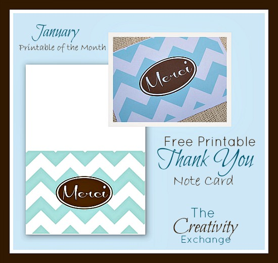 Free Printable Merci Thank You Note Card January Free Printable of the Month The Creativity Exchange