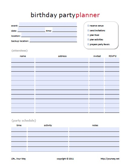 Worksheets Event Planning Worksheet 11 free printable party planner checklists tip junkie planner