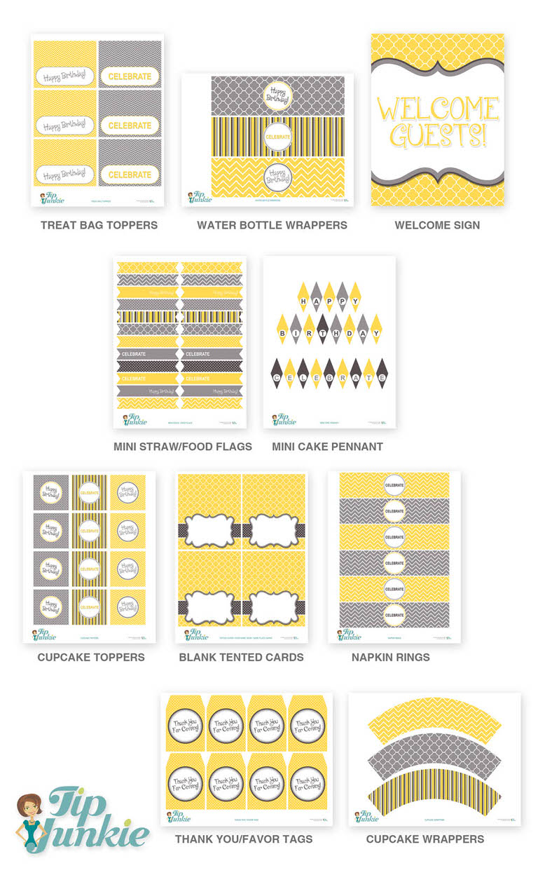 yellow and grey birthday party printables instant download tip junkie. Black Bedroom Furniture Sets. Home Design Ideas