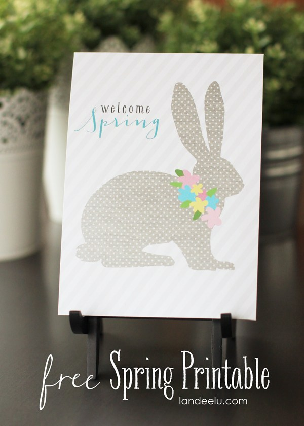 FREE SPRING PRINTABLE WELCOME SPRING BUNNY