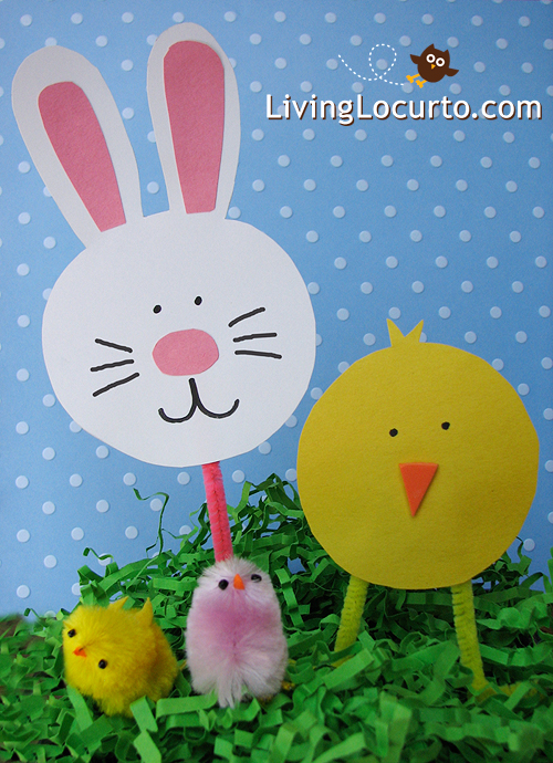 Simple Chick and Easter Bunny Paper Crafts for Kids