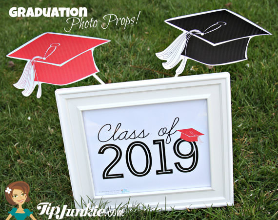 image regarding Printable Yard Signs known as Commencement Cap Photograph Prop and Garden Indication totally free printables