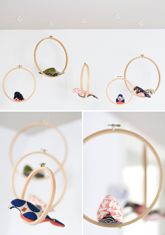 DIY Embroidery Hoop Mobile