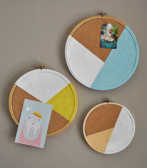 Embroidery Hoop Cork Board