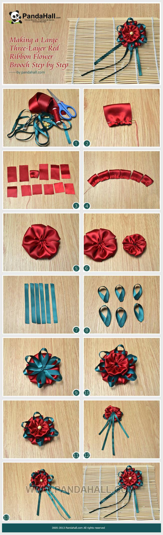 Making a large three layer red ribbon flower brooch step for Flower making at home