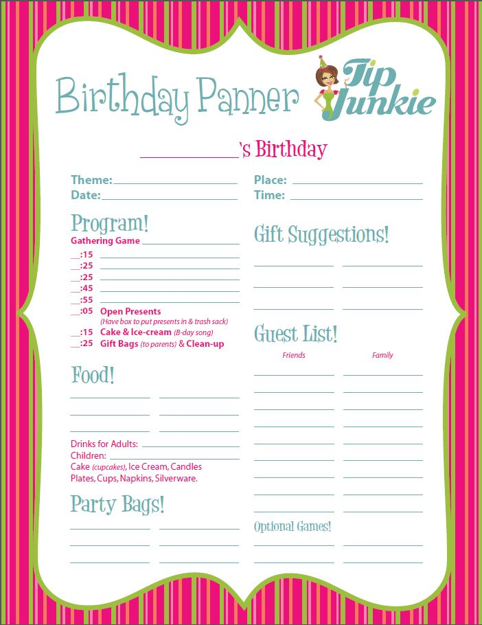 graphic regarding Birthday List Printable referred to as 11 No cost Printable Get together Planner Checklists Idea Junkie