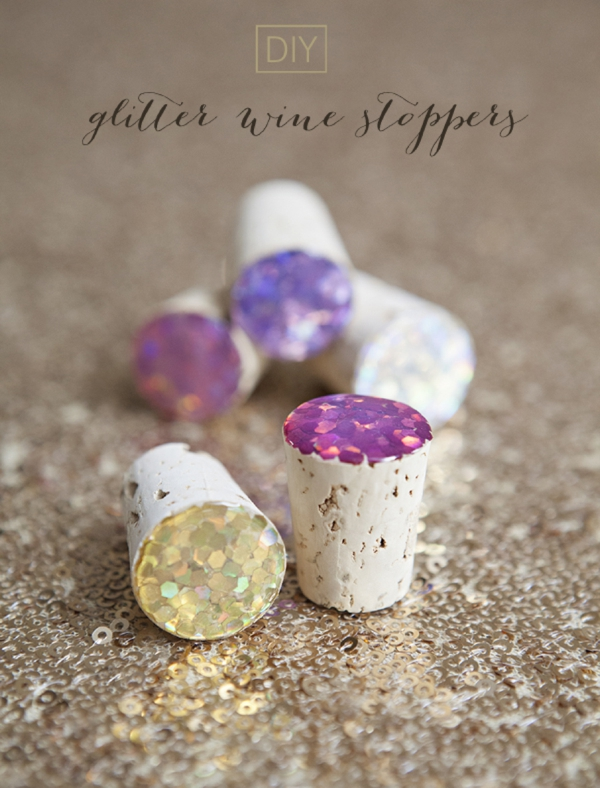 diy glitter wine stoppers