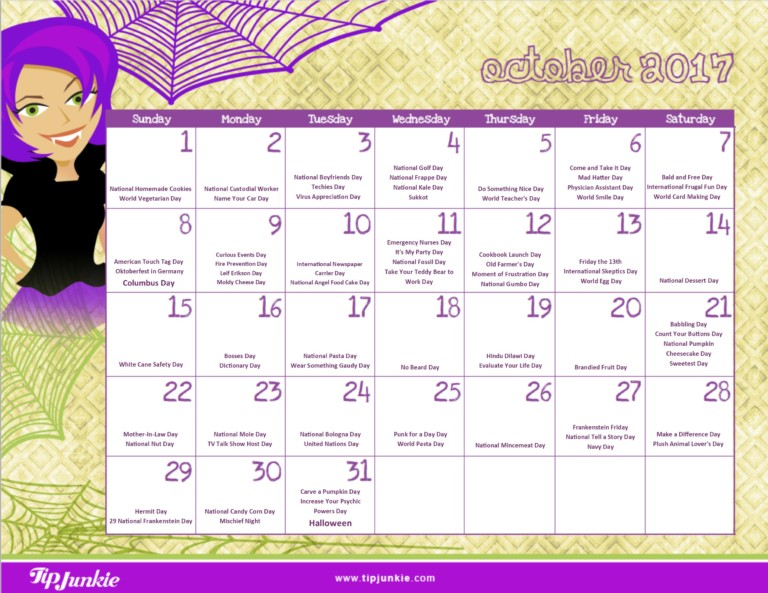 photo about Printable Calendar October called Should-Include Printable Calendars for Oct [Cost-free!] Idea Junkie