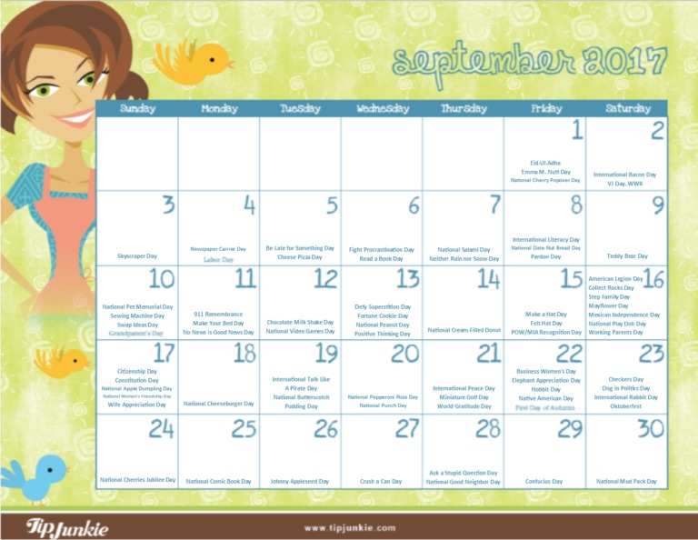 September 2017 Holidays Calendar Tip Junkie