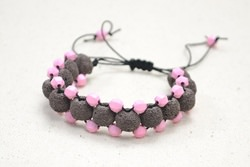 Tutorial on Making DIY Bracelets with Lava Stone Beads and Pink Acrylic Bea