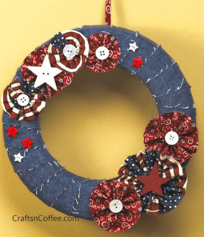 Denim & Flowers Patriotic Wreath