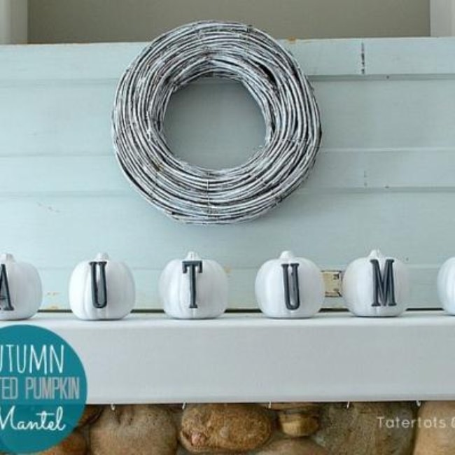 Modern White and Grey Fall Pumpkin Mantel {autumn crafts}