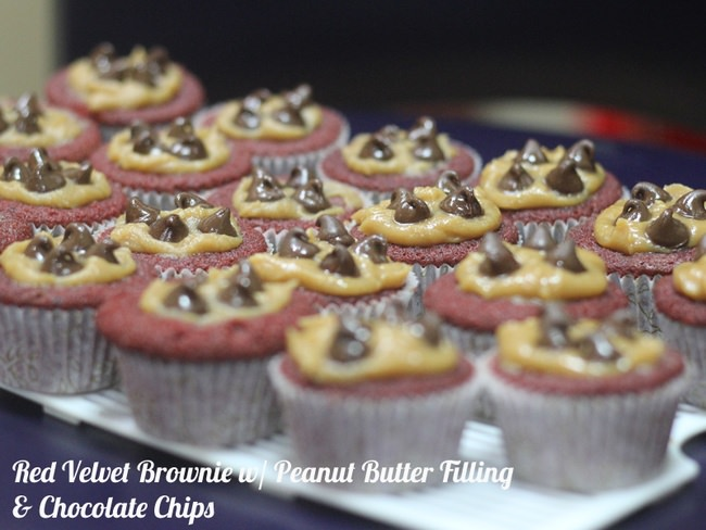Easy Red Velvet Brownie/Cake Cups with Peanut Butter and Chocolate Chips Topping