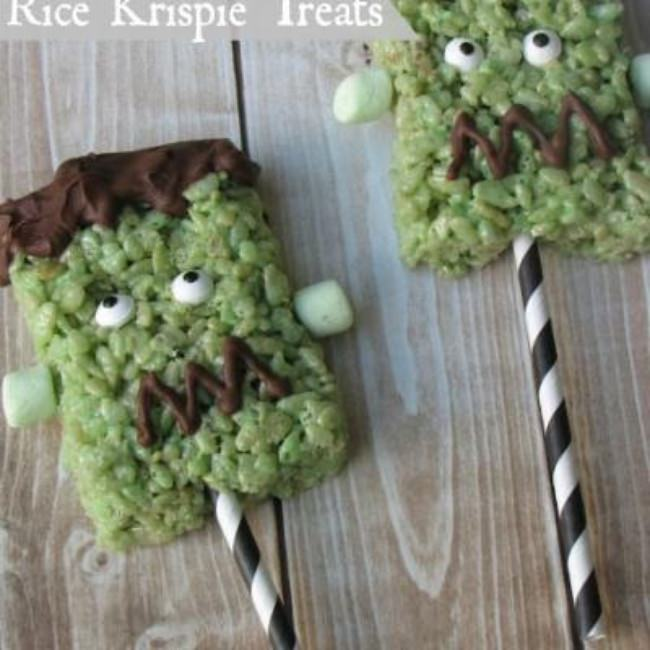 Frankenstein Halloween Rice Krispie Treats {free printable}