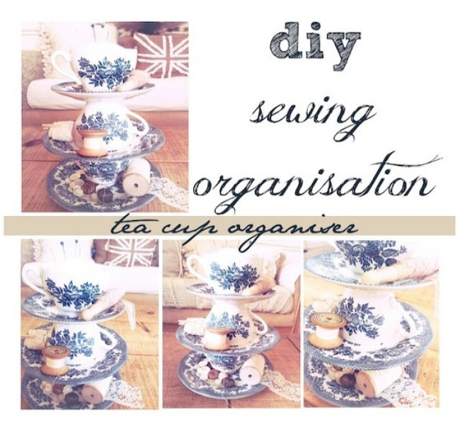 tea cup sewing organiser