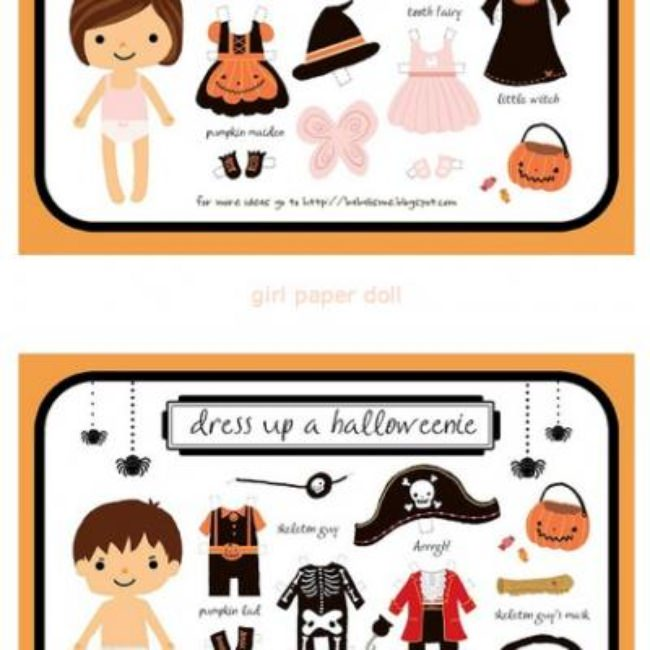 Halloween Paper Dolls {Free Printable}
