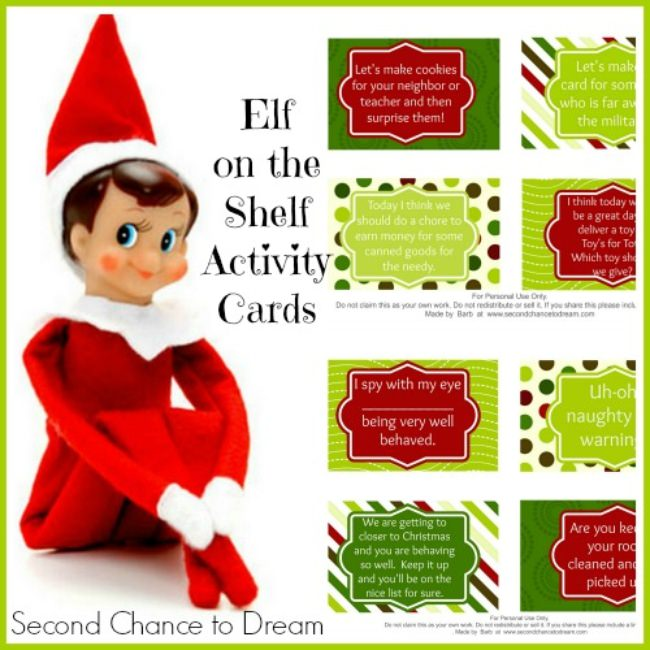 Free Printable Elf on the Shelf Activity Cards w/ a twist