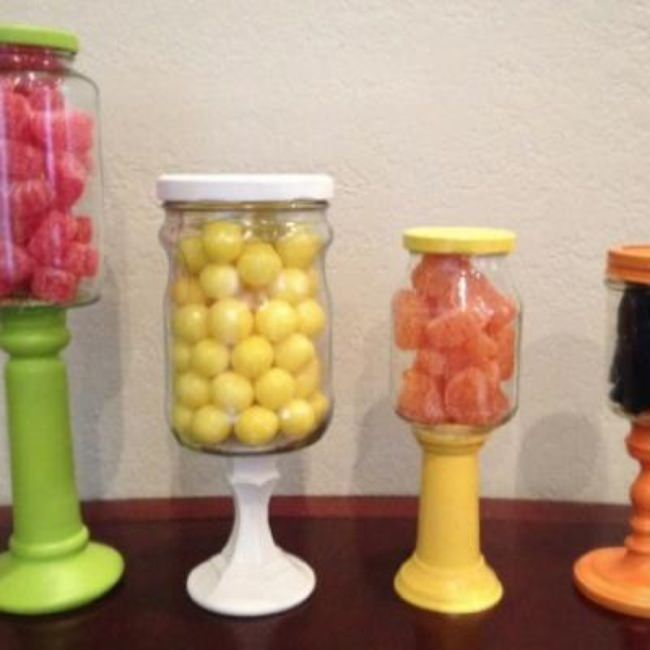 DIY Candlestick Candy Jars