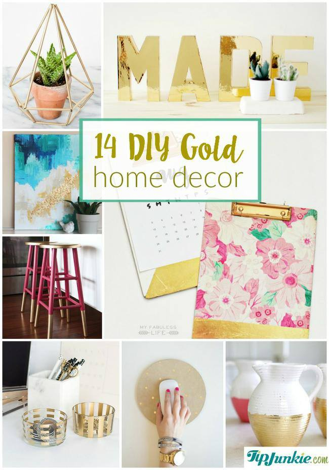 14 diy gold home decor on the cheap jpg - Gold Home Decor