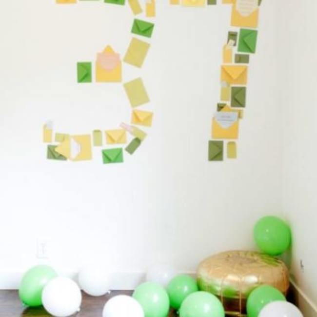 Number Shaped Envelope Surprise {surprise birthday party}