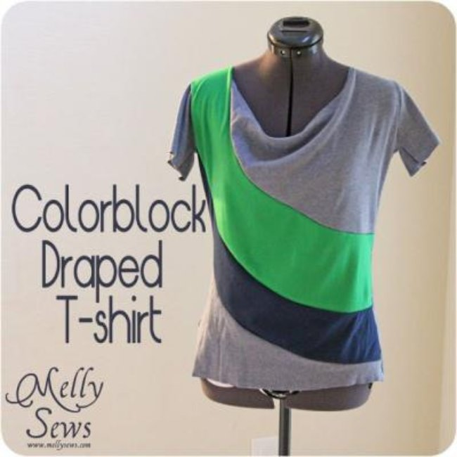 Colorblock Draped T-Shirt {Knit Fabric}