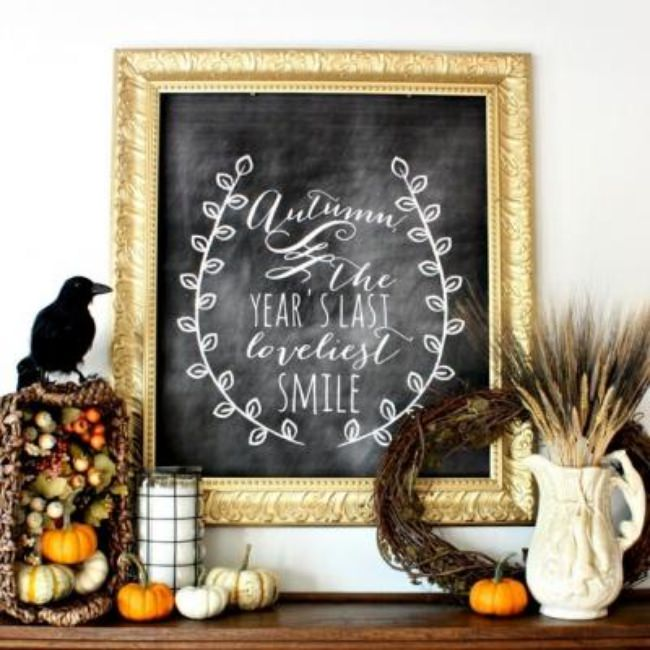Fall Harvest Chalkboard Mantel {fall printable}