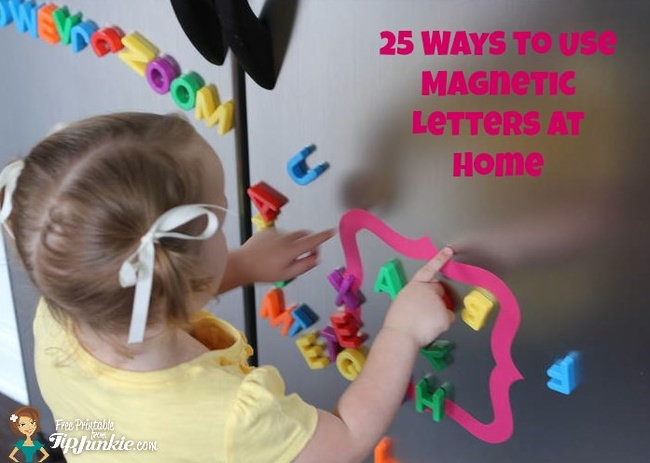 25 Ways to Use Magnetic Letters at Home {free printable}