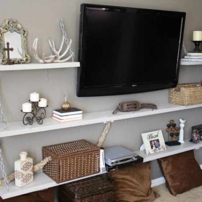 Media Room Shelves DIY {Shelving & Storage}