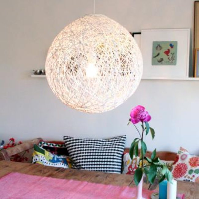 How to Make a String Ball Chandelier {diy light}