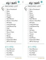 Printable Ski Bag Packing List