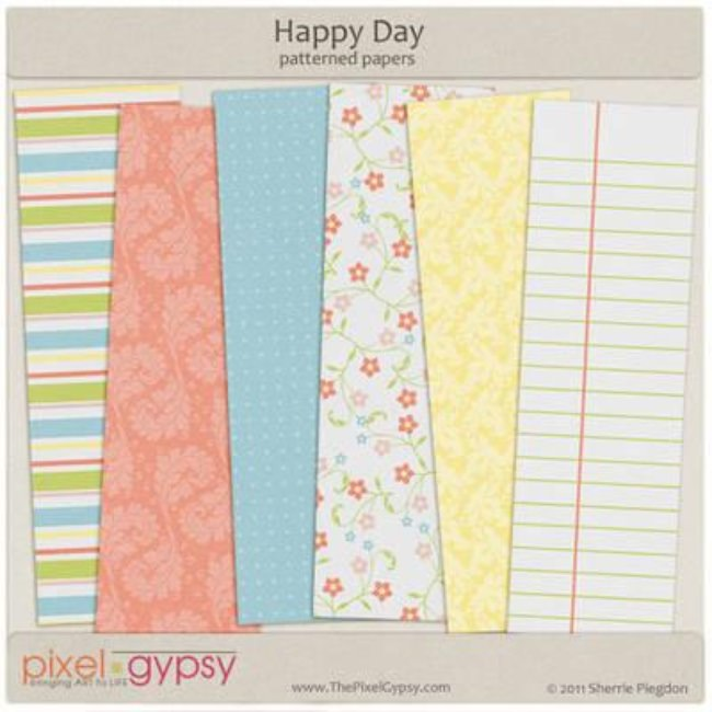 Happy Day Patterned Paper {Free Scrapbook}