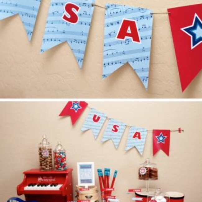 Printable Patriotic Banner and Bottle Wrappers
