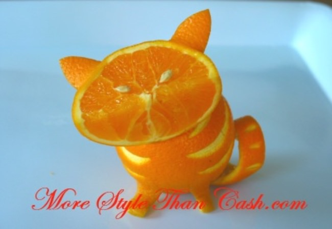 Orange Cat - Fruit Sculpture