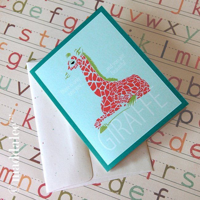 Rainbow Giraffe Note Card Printable
